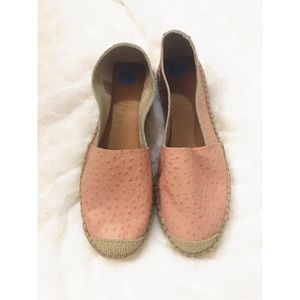 Selected Femme Ostrich Leather Pink Espadrilles